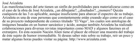 Arizaleta resena nacion alien